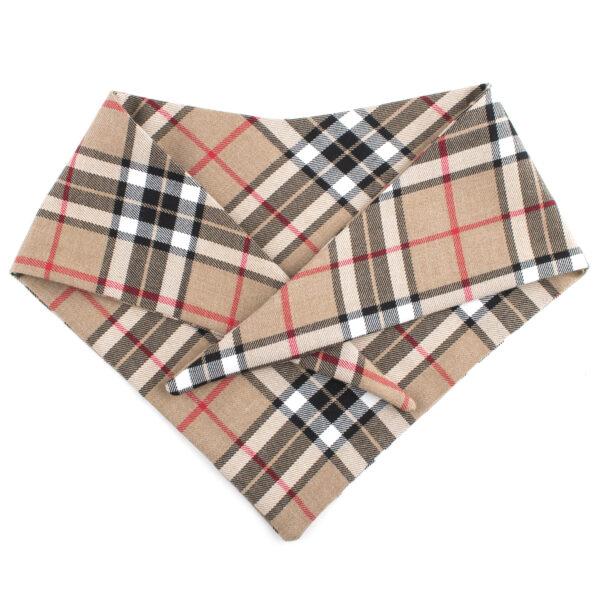 Beige hondenbandana met ruitjes motief. De bandana kan heel eenvoudig op de gewenste lengte geknoopt worden. Verkrijgbaar in 6 maten van XS tot XXL, voor zowel de allerkleinsten als de grootsten.