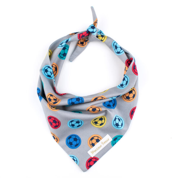 Grijze bandana voor honden met gekleurde voetballen. De bandana kan heel eenvoudig op de gewenste lengte geknoopt worden.Verkrijgbaar in 6 maten van XS tot XXL, voor zowel de allerkleinsten als de grootsten.