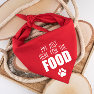 bandana, hond, I'm just here for the food, hondenbandana, hond bandana, sjaal