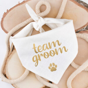 bandana, sjaal, hond, team groom, trouw, huwelijk, outfit