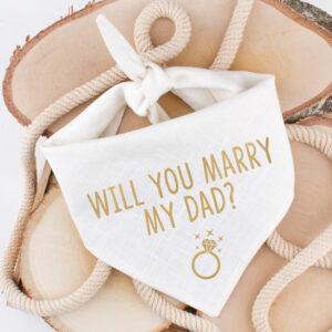 bandana, linnen, huwelijk, aankondiging, wil je met mij trouwen, will you marry my dad?