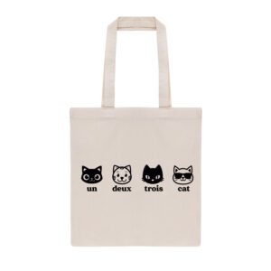 un deux trois cat, cat mom, cat dad, tote bag