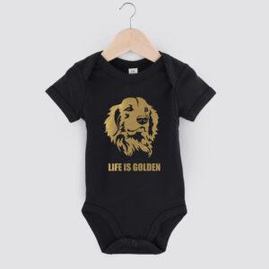 romper, baby, golden retriever, life is golden